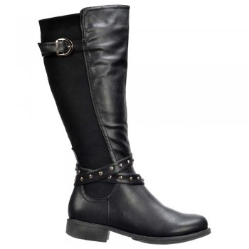 Shoekandi Riding Boots Knee High  - Buckles and Studs - Black