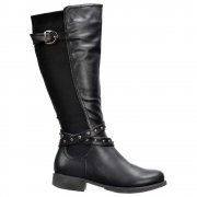 Riding Boots Knee High  - Buckles and Studs - Black