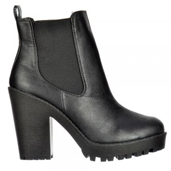 Shoekandi Rihanna Chelsea Boot - With Heel and Elasticated Sides - Black