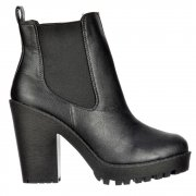 Rihanna Chelsea Boot - With Heel and Elasticated Sides - Black
