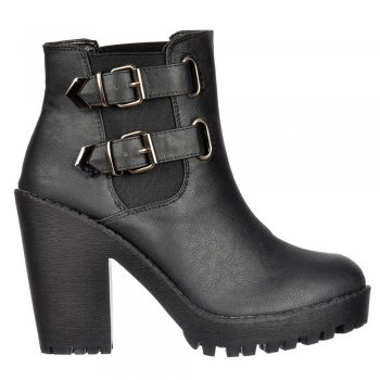 Shoekandi Rihanna Classic Chelsea Ankle Boot - With Heel and Double Buckle - Black