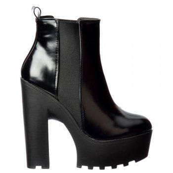 Shoekandi Rihanna Classic Chelsea Boot - Cleated Sole Elasticated Sides - Black Patent