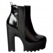 Rihanna Classic Chelsea Boot - Cleated Sole Elasticated Sides - Black Patent