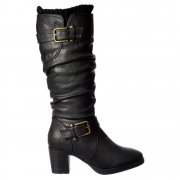 Rouched Double Buckle Mid Calf Winter Boot - Low Block Heel - Black, Brown