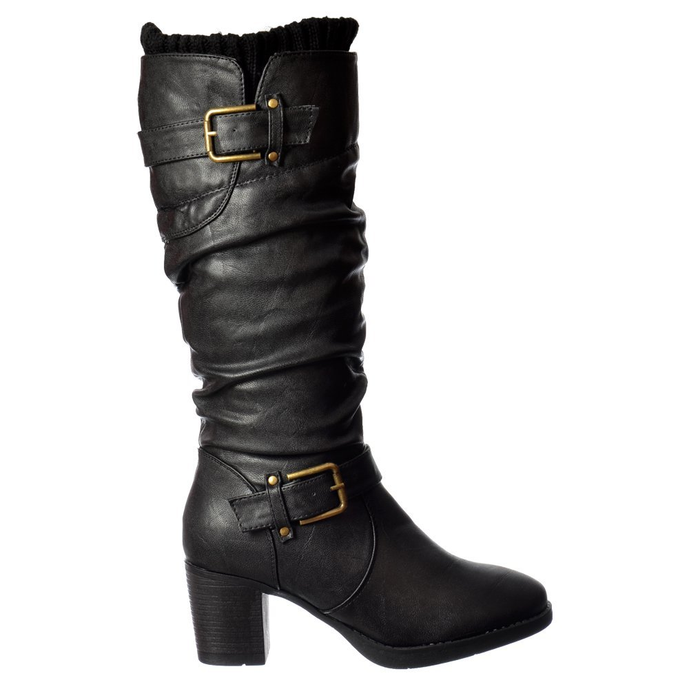 Shoekandi Rouched Double Buckle Mid Calf Winter Boot - Low