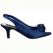 Satin Bridal Bridesmaid Low Kitten Heel Shoes -  Diamante Flower - Ivory, Navy, Fuchsia, Black