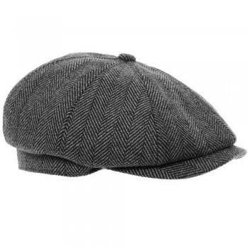 Shoekandi 'Shelby' Peaky Blinders Newsboy 8 Panel Baker Boy Tweed Flat Cap