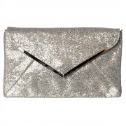 Shimmer Glitter Envelope Evening Clutch Purse Handbag - Black, Gold, Silver