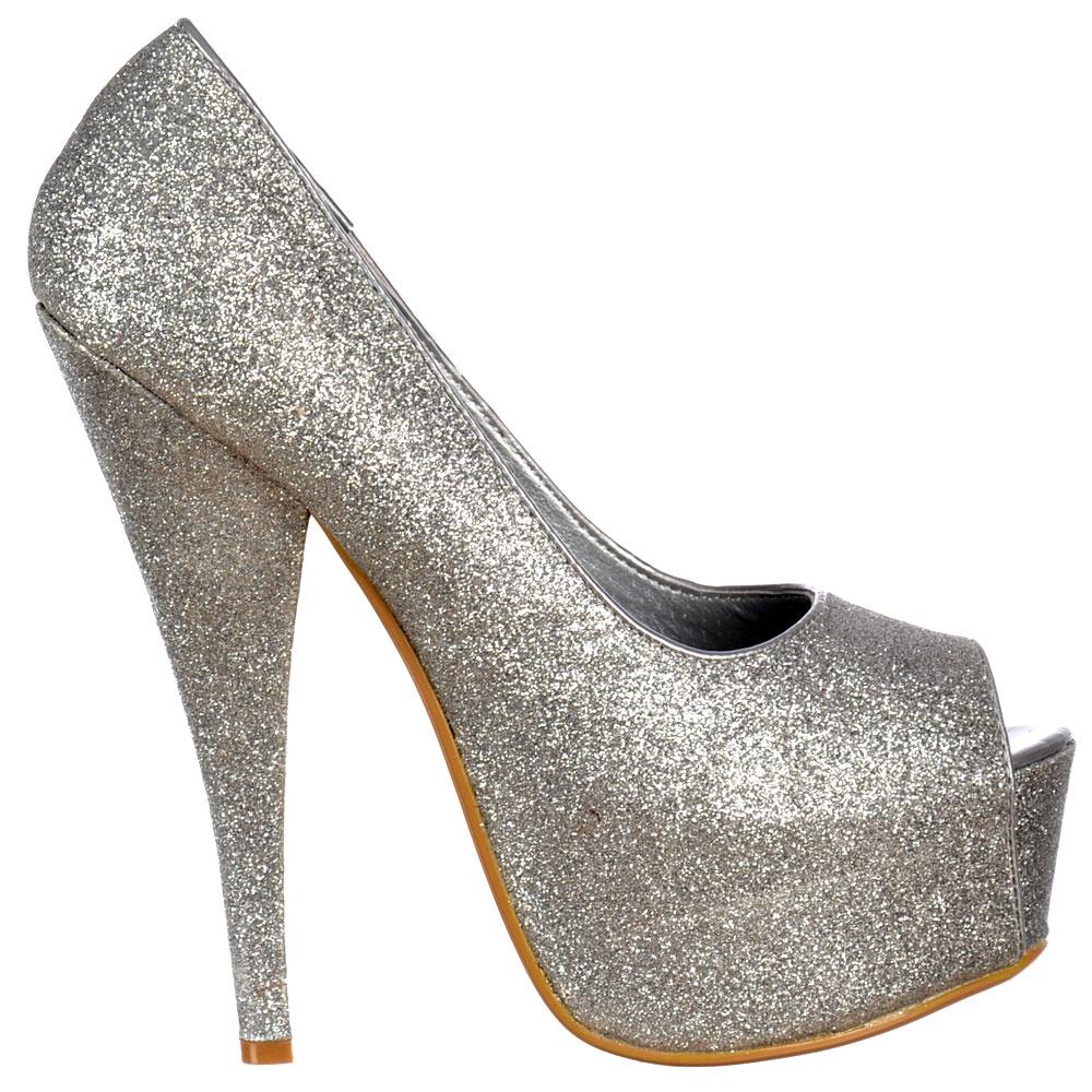 shoekandi silver sparkly glitter peep toe stiletto