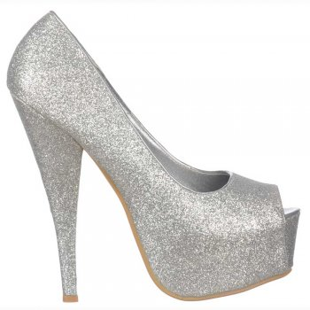 Shoekandi Silver Sparkly Glitter Peep Toe Stiletto Concealed Platform High Heel Shoes - Silver