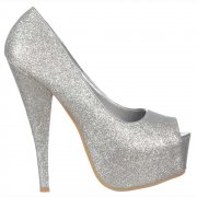 Silver Sparkly Glitter Peep Toe Stiletto Concealed Platform High Heel Shoes - Silver