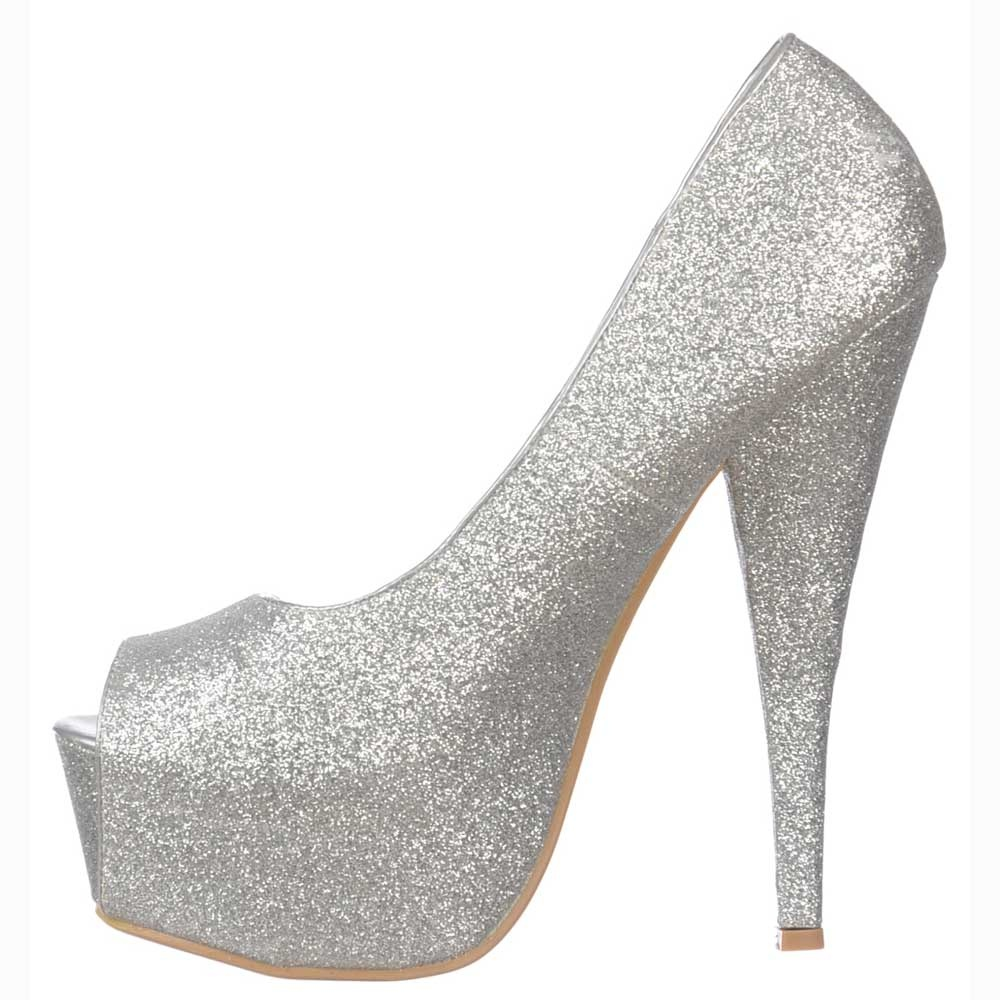 3c88b6aebf7e ... Shoekandi Silver Sparkly Glitter Peep Toe Stiletto Concealed Platform  High Heel Shoes - Silver ...