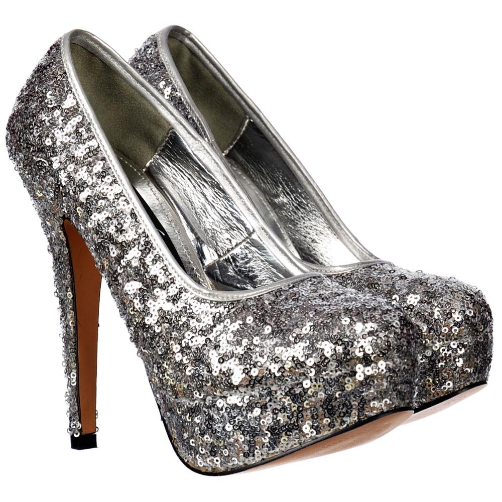 shoekandi silver sparkly sequin high heel platform