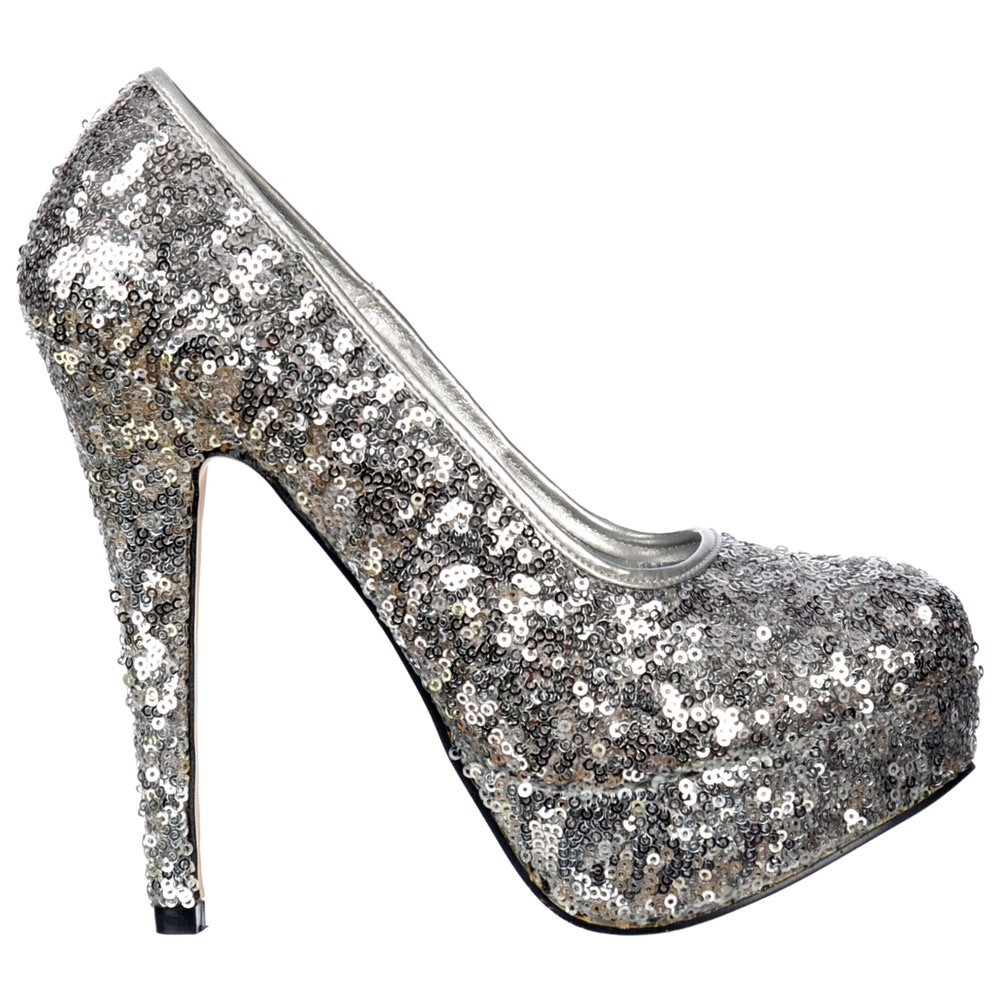 shoekandi silver sparkly sequin high heel platform. Black Bedroom Furniture Sets. Home Design Ideas