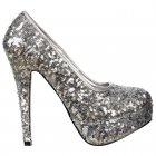 Silver Sparkly Sequin High Heel Platform Stiletto Shoes - Silver