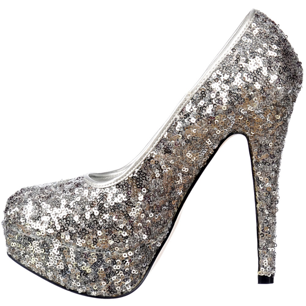 Shoekandi Silver Sparkly Sequin High Heel Platform Stiletto Shoes ...