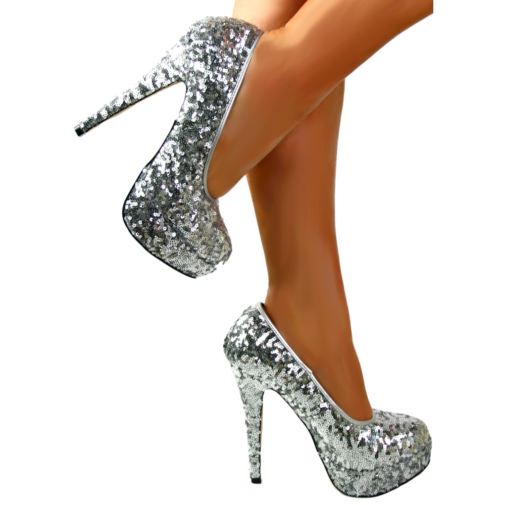 b483757d10cd ... Shoekandi Silver Sparkly Sequin High Heel Platform Stiletto Shoes -  Silver ...