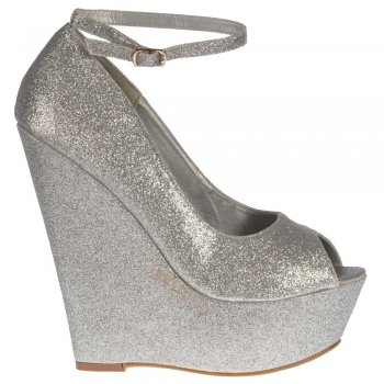 Shoekandi Silver Wedge Glitter Peep Toe Platform Shoes Ankle Strap - Silver