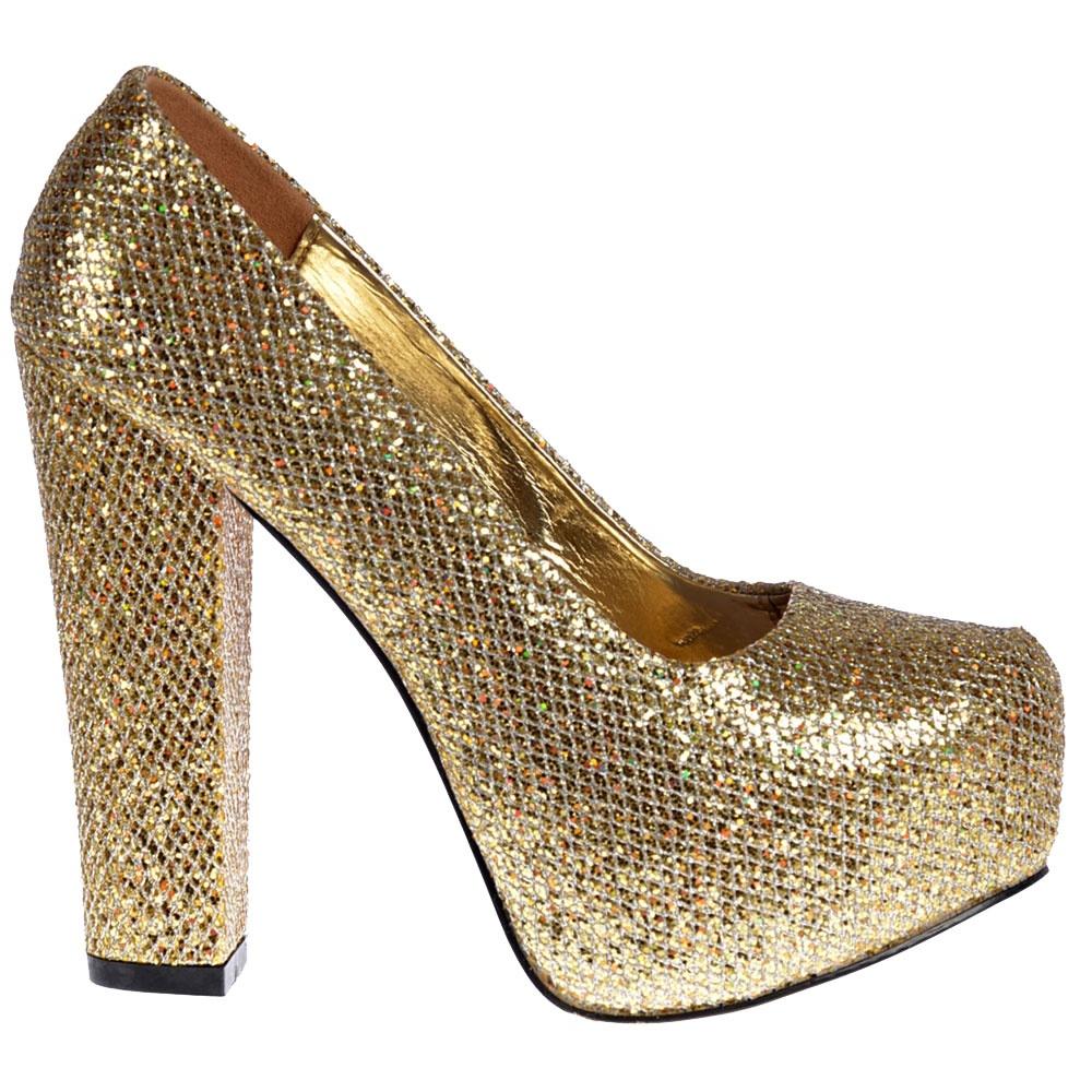 shoekandi sparkly block heel concealed platform shoes