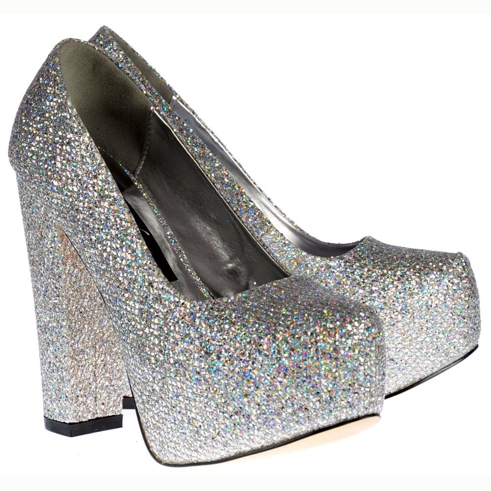 Shoekandi Sparkly Block Heel Concealed Platform Shoes - Silver