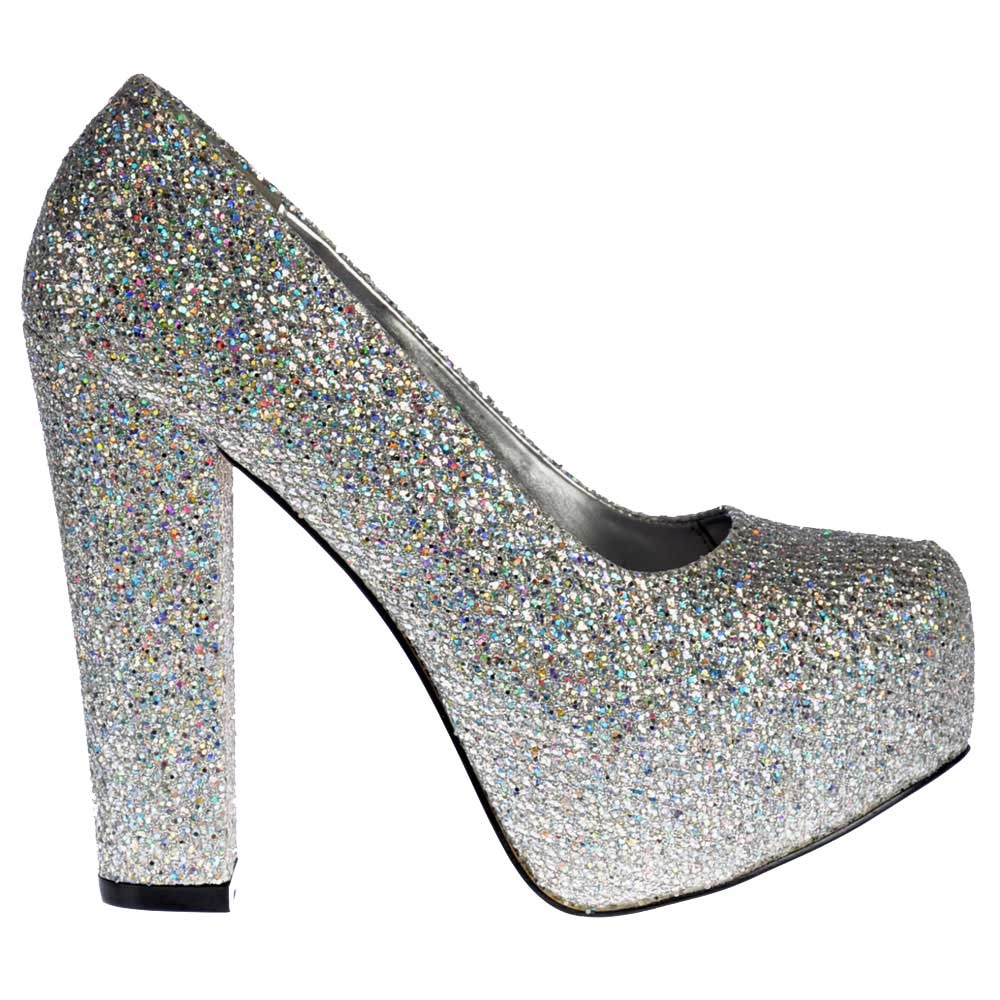 Shoekandi Sparkly Block Heel Concealed Platform Shoes - Silver ...