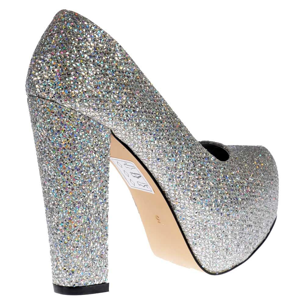 Shoekandi Sparkly Block Heel Concealed