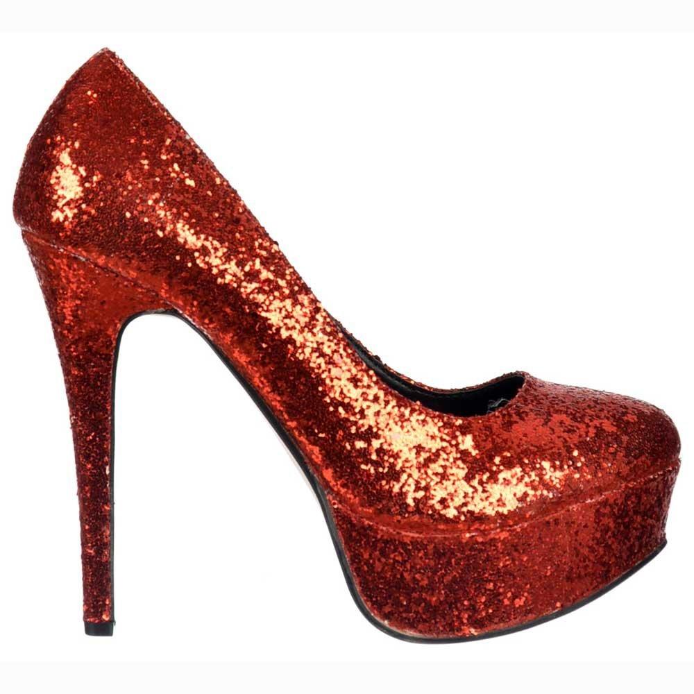 881a56cee096 Shoekandi Sparkly Glitter Platform Stiletto Heels - Party Shoes - Red  Glitter