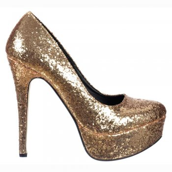 Shoekandi Sparkly Glitter Stiletto Platform Heels - Party Shoes - Gold Glitter