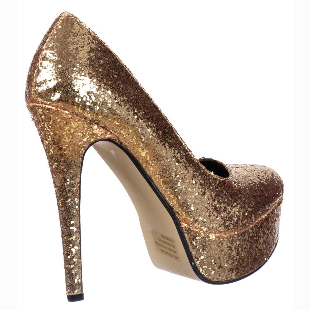 d22e346fee2dcd ... Shoekandi Sparkly Glitter Stiletto Platform Heels - Party Shoes - Gold  Glitter ...
