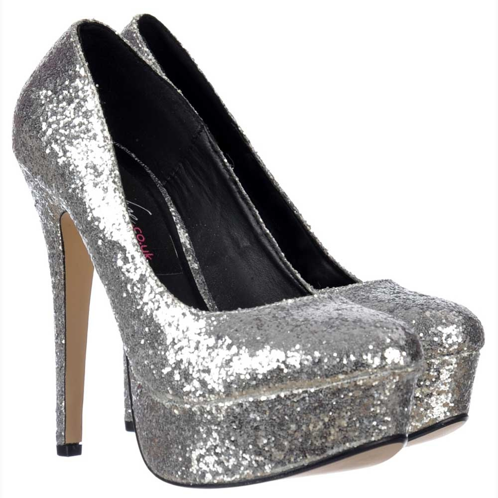 shoekandi sparkly glitter stiletto platform heels party