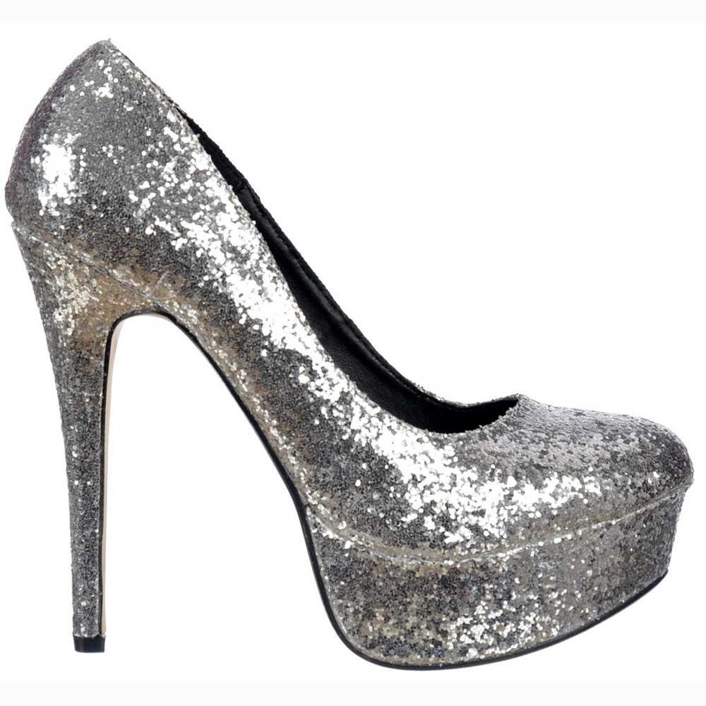 Silver Glitter Platform Heels - Qu Heel