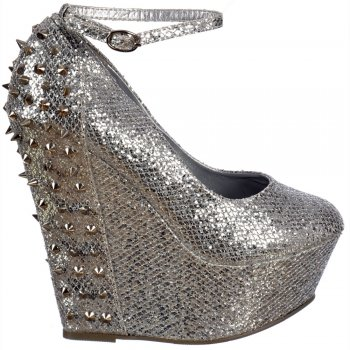 Shoekandi Sparkly Glitter Wedge Platform Shoes Ankle Strap Studs and Spikes - Silver