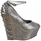 Sparkly Glitter Wedge Platform Shoes Ankle Strap Studs and Spikes - Silver