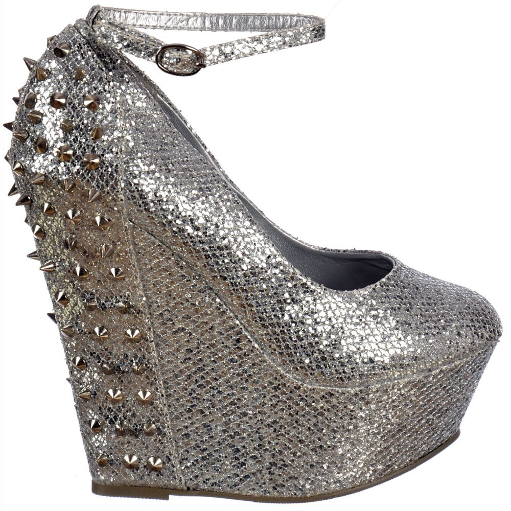 6e7e0544c Shoekandi Sparkly Glitter Wedge Platform Shoes Ankle Strap Studs and Spikes  - Silver