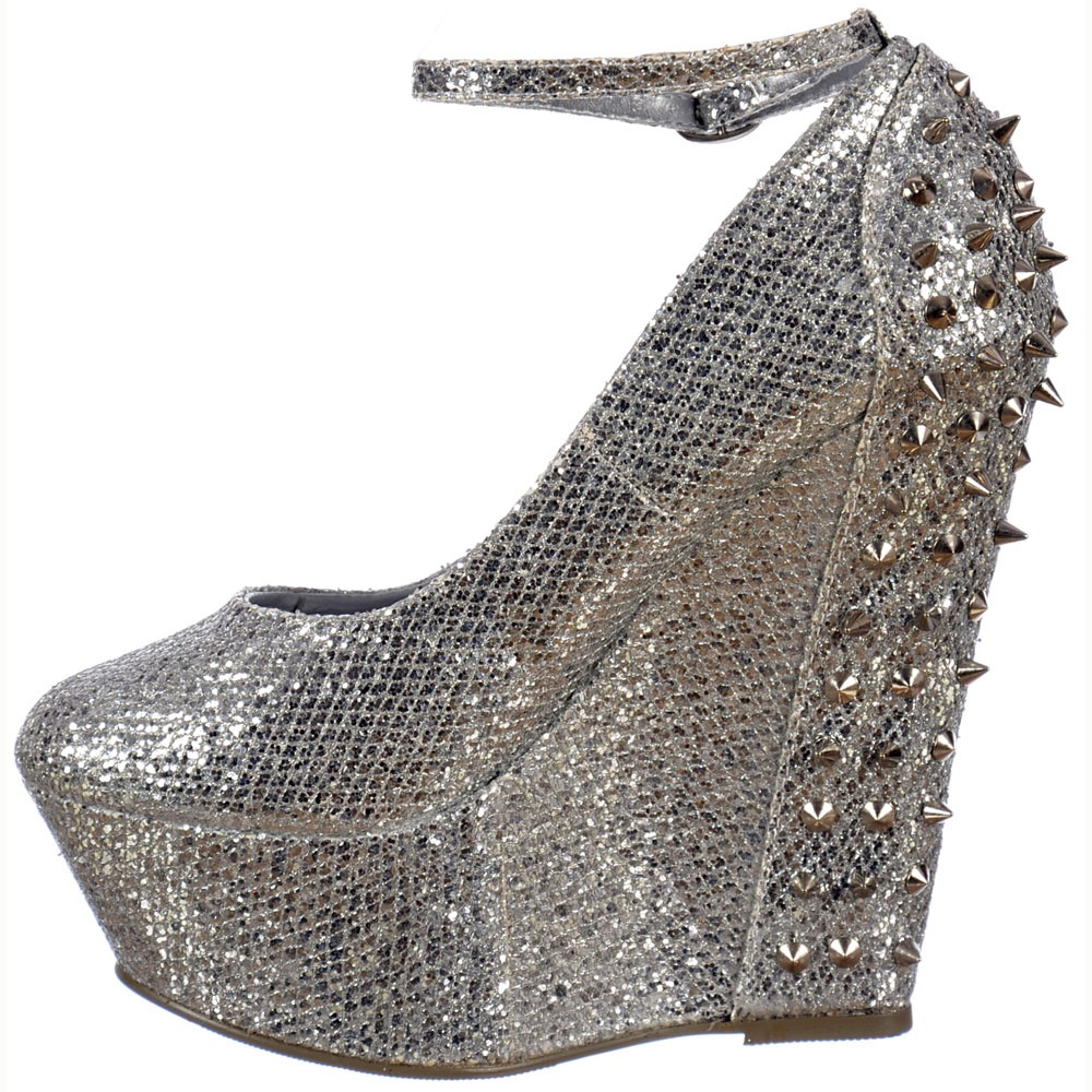 bec610f86 ... Shoekandi Sparkly Glitter Wedge Platform Shoes Ankle Strap Studs and  Spikes - Silver ...