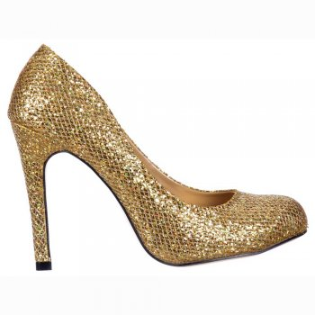 Shoekandi Sparkly Gold Glitter - Sequined Mesh - Stiletto Court Shoe - Gold