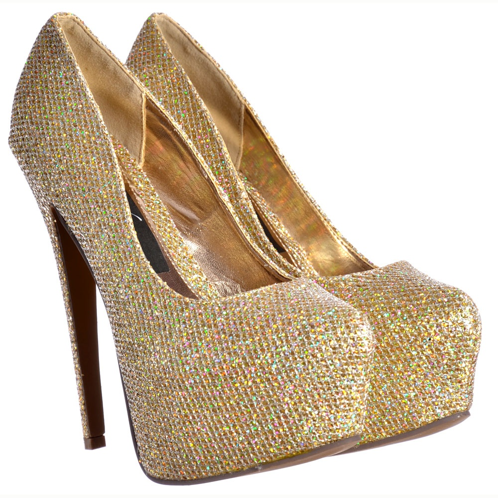 2e081b3a6ca751 ... Shoekandi Sparkly Gold Glitter Shimmer High Heel Stiletto ... Gold  Platform High Heels ...
