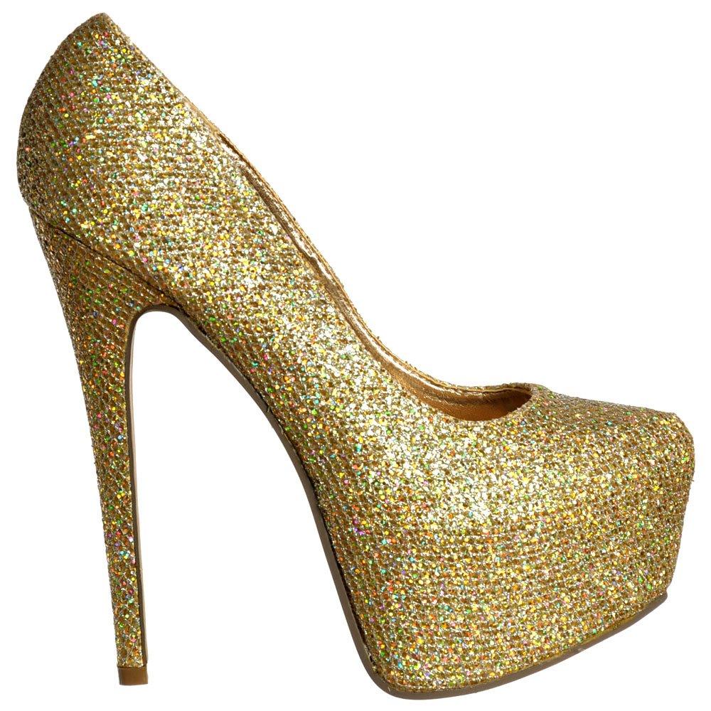 b5e79a5b3602 Shoekandi Sparkly Gold Glitter Shimmer High Heel Stiletto Concealed  Platform Shoes - Gold