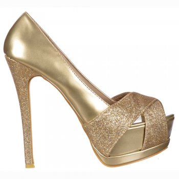 Shoekandi Sparkly Gold Metallic Glitter Peep Toe Stiletto - Glitter Crossed Toe - Gold Glitter