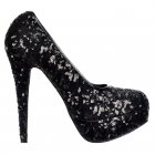Sparkly Sequin Black High Heel Platform Stiletto Shoes - Black