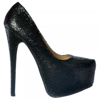 Shoekandi Sparkly Shimmer Glitter High Heel Stiletto Concealed Platform Shoes - Black Glitter