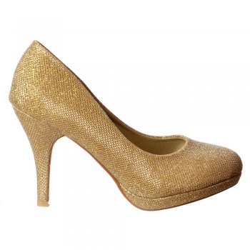 Shoekandi Sparkly Shimmer Glitter - Low Heel Stiletto Court Shoe - Gold Mesh, Silver Mesh