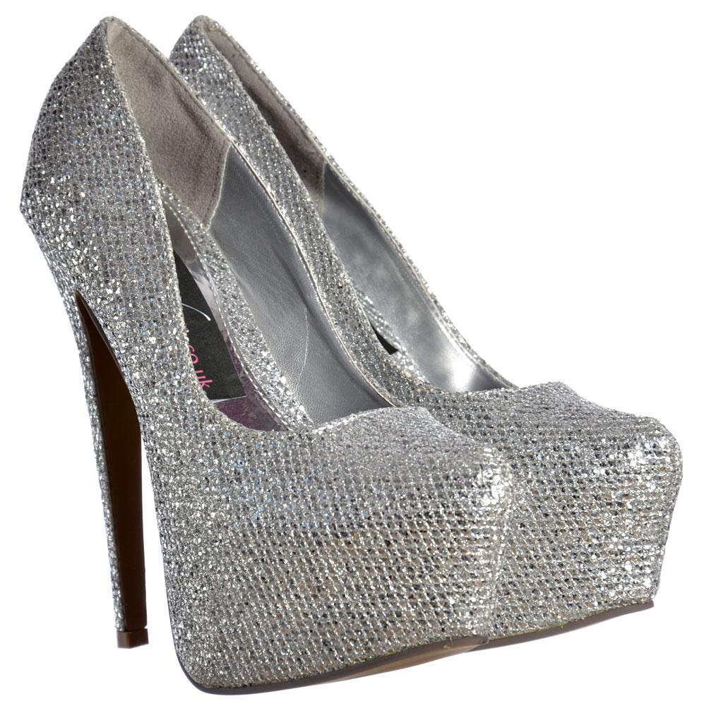 shoekandi sparkly silver glitter shimmer high heel