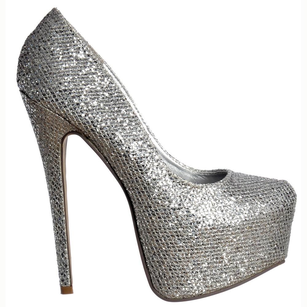 Shoekandi Sparkly Silver Glitter Shimmer High Heel Stiletto ...