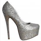 Sparkly Silver Glitter Shimmer High Heel Stiletto Concealed Platform Shoes - Silver