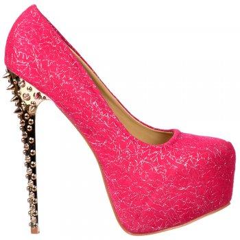 Shoekandi Spiked Studded Gold Chrome High Heel - Fuchsia Pink Fabric Mesh - Fuchsia