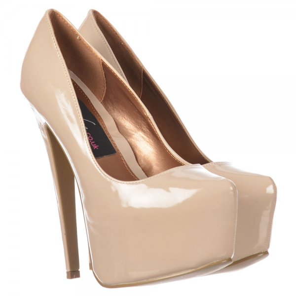 Shoekandi Stiletto Concealed Platform High Heel Shoes - Nude ...
