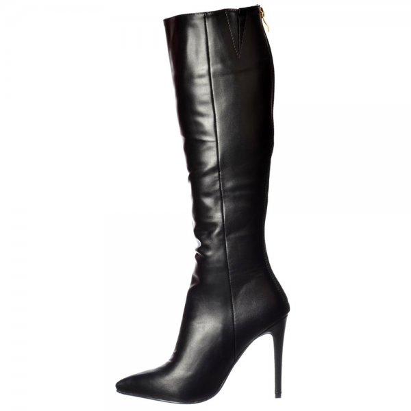 shoekandi stiletto heel pointed toe knee high boots