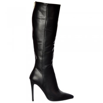 Shoekandi Stiletto Heel Pointed Toe Knee High Boots -  Black, Brown, Wine Velvet
