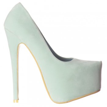 Shoekandi Stiletto High Heel Concealed Platform Party Shoes - Mint Suede